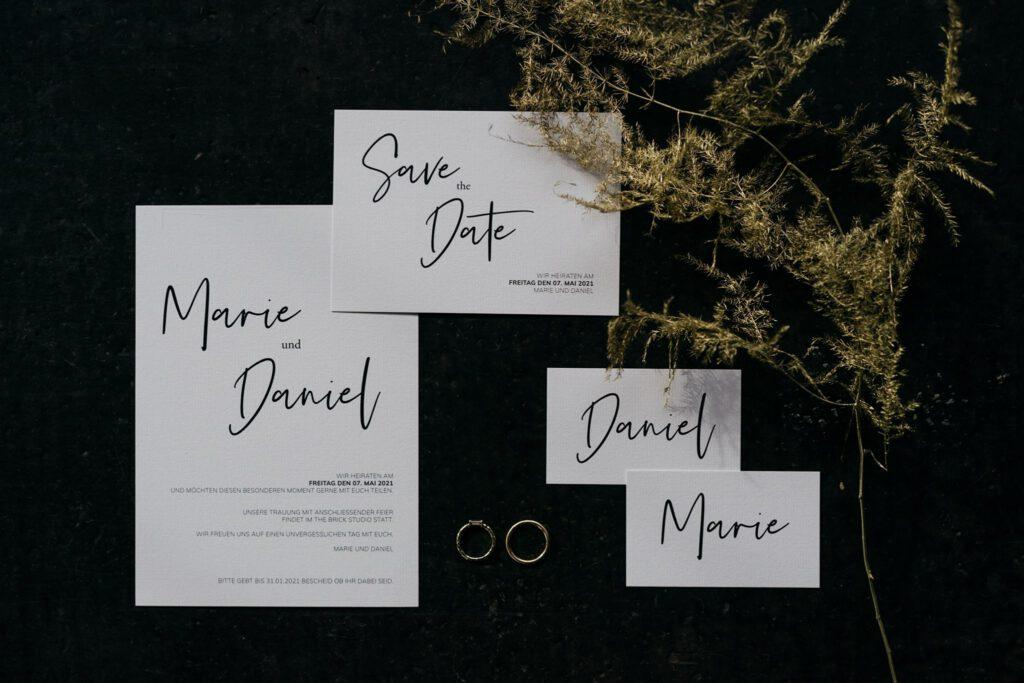 Hochzeitseinladung Save the Date | Freie Trauung | Strauß & Fliege